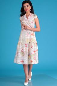 Модель 2555 молочный+цветы Мода-Юрс