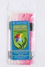 Нитки мулине  Цветик-семицветик  10 м. арт. ПНК набор 7 мотков №3- розовый  лепесток