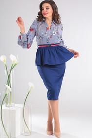 Модель 2412 голубой в цветы+синий Мода-Юрс