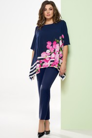 Модель 1248-1 темно-синий+цветы Arita Style-Denissa