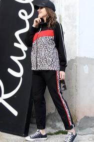 Модель 1393 чёрный с красным+леопард Runella
