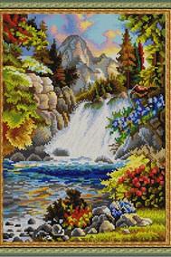 Рисунок на ткани   У водопада ( Бисер)