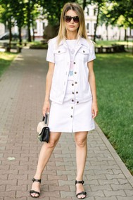 Модель 238 Белый джинс, футболка – белый с принтом Marika