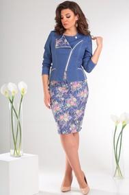 Модель 2091 синий+розовые цветы Мода-Юрс