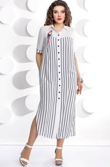 8a14df88fc62 Платье Мублиз, белый+полоска (модель 226) — Белорусский трикотаж в ...
